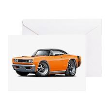 1969 Super Bee Orange-Black Car Greeting Card