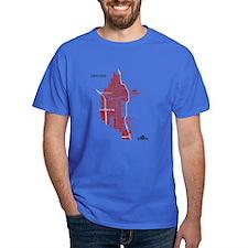 Chicago Men's T-Shirt Red on Royal Blue