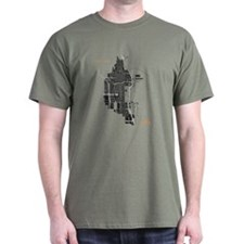 Chicago Men's T-Shirt Black on Military Green