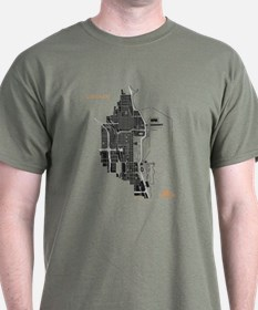 Chicago Men's T-Shirt Black on Military Green
