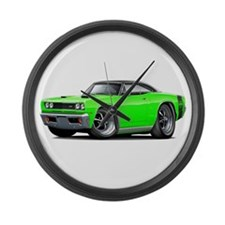 1969 Super Bee Lime-Black Car Large Wall Clock