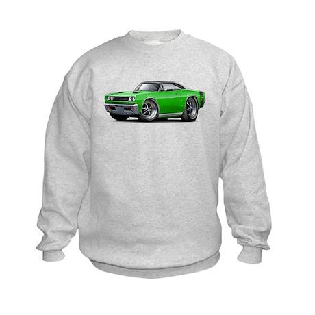 1969 Super Bee Green-Black Car Kids Sweatshirt