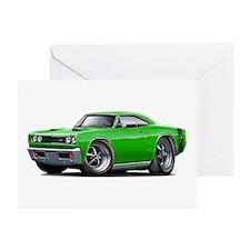 1969 Super Bee Green Car Greeting Card