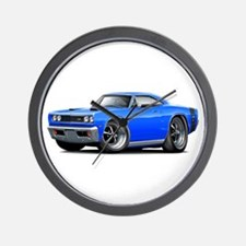 1969 Super Bee Blue-Black Car Wall Clock