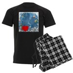 I Love Justin Men's Dark Pajamas