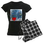 I Love Justin Women's Dark Pajamas