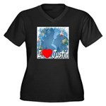 I Love Justin Women's Plus Size V-Neck Dark T-Shir