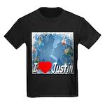I Love Justin Kids Dark T-Shirt