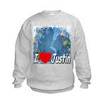 I Love Justin Kids Sweatshirt