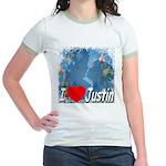 I Love Justin Jr. Ringer T-Shirt