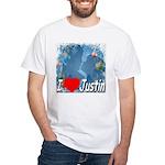 I Love Justin White T-Shirt