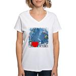 I Love Justin Women's V-Neck T-Shirt