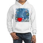 I Love Justin Hooded Sweatshirt