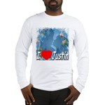 I Love Justin Long Sleeve T-Shirt