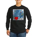I Love Justin Long Sleeve Dark T-Shirt