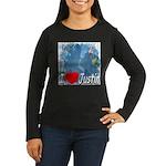 I Love Justin Women's Long Sleeve Dark T-Shirt