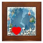 I Love Justin Framed Tile