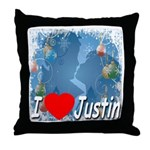 I Love Justin Throw Pillow
