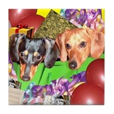 Party Animals Dachshunds Dogs Tile Coaster