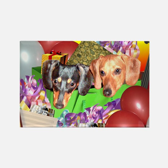 Party Animals Dachshunds Dogs Rectangle Magnet