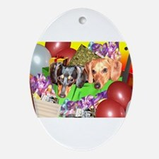 Party Animals Dachshunds Dogs Oval Ornament