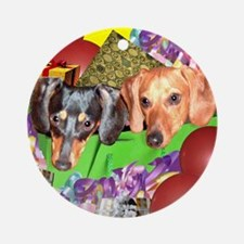 Party Animals Dachshunds Dogs Ornament (Round)
