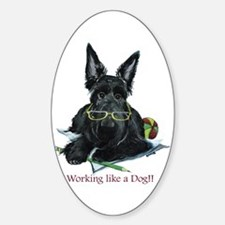 Working Scottie Oval Decal