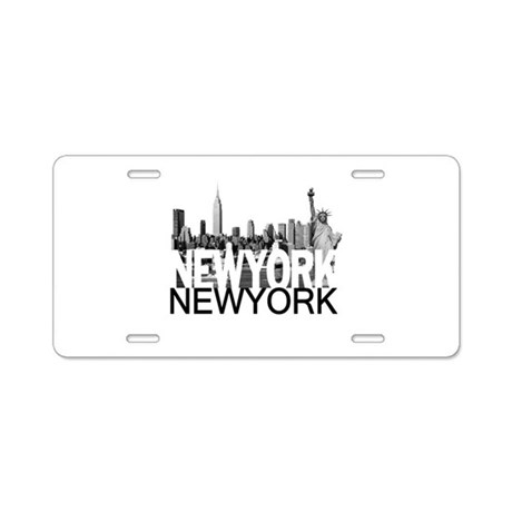 New York Skyline Aluminum License Plate