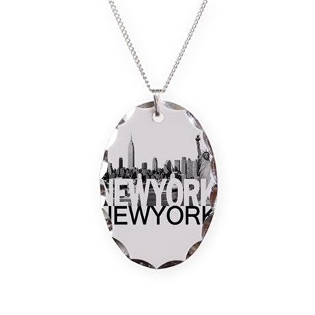 New York Skyline Necklace Oval Charm