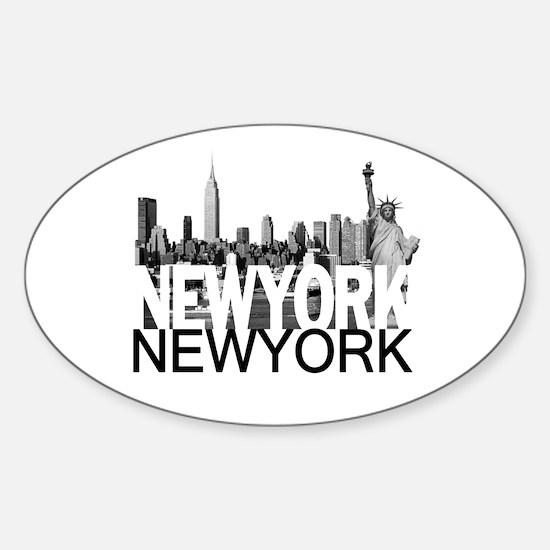 New York Skyline Sticker (Oval)