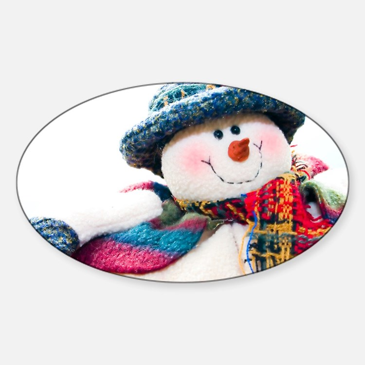 Cute winter snowman with blue hat Decal