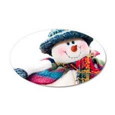 Cute winter snowman with blue hat 22x14 Oval Wall