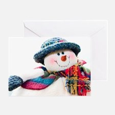Cute winter snowman with blue hat Greeting Card
