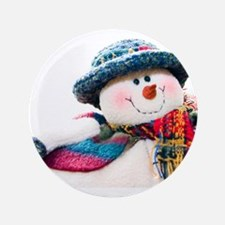 """Cute winter snowman with blue hat 3.5"""" Button (100"""