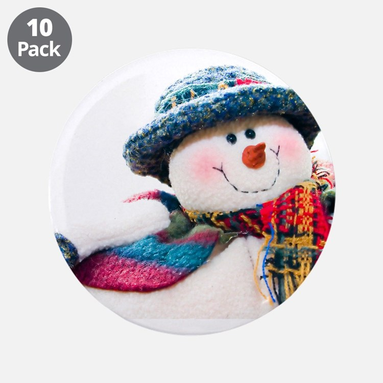"Cute winter snowman with blue hat 3.5"" Button (10"