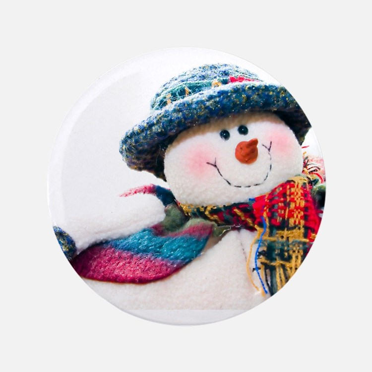 """Cute winter snowman with blue hat 3.5"""" Button"""
