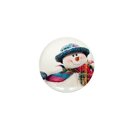 Cute winter snowman with blue hat Mini Button