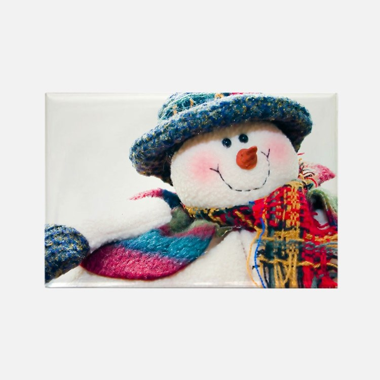Cute winter snowman with blue hat Rectangle Magnet