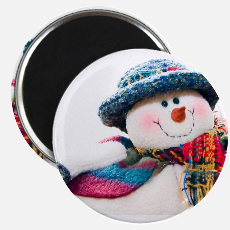 """Cute winter snowman with blue hat 2.25"""" Magnet (10"""