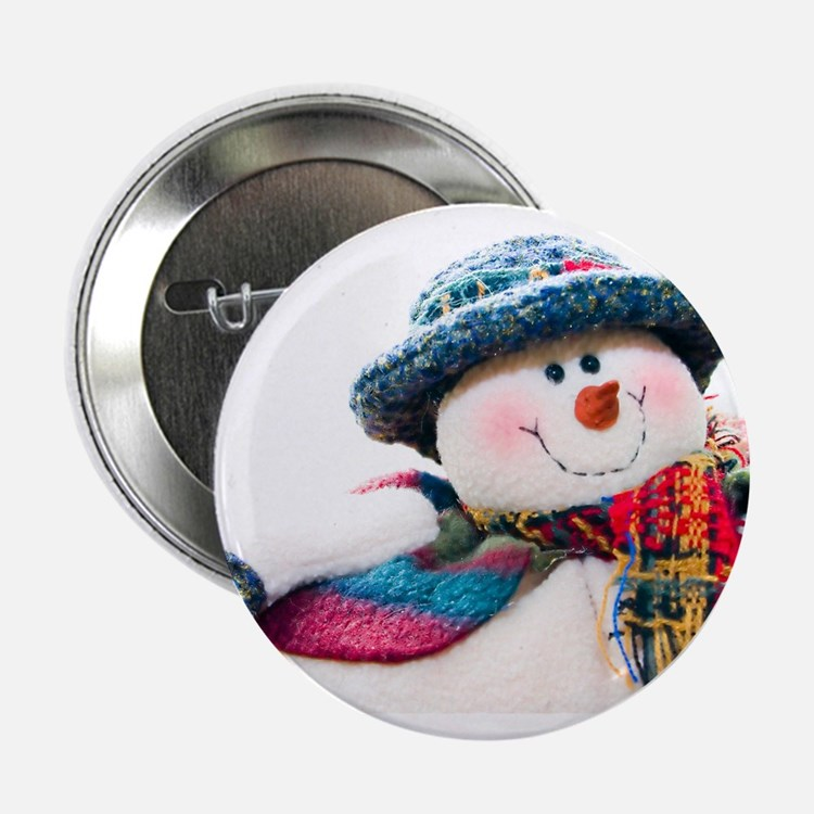 """Cute winter snowman with blue hat 2.25"""" Button (10"""