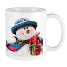 Cute winter snowman with blue hat Small Small Mug