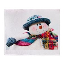 Cute winter snowman with blue hat Throw Blanket