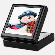 Cute winter snowman with blue hat Keepsake Box