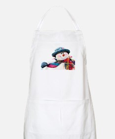 Cute winter snowman with blue hat Apron