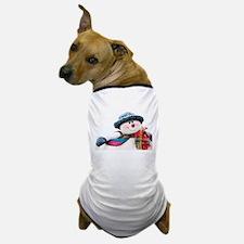 Cute winter snowman with blue hat Dog T-Shirt