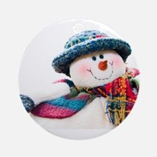Cute winter snowman with blue hat Ornament (Round)