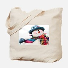 Cute winter snowman with blue hat Tote Bag