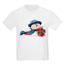 Cute winter snowman with blue hat T-Shirt