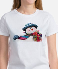 Cute winter snowman with blue hat Tee