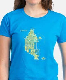 Chicago Women's T-Shirt Lemon on Caribbean Blue